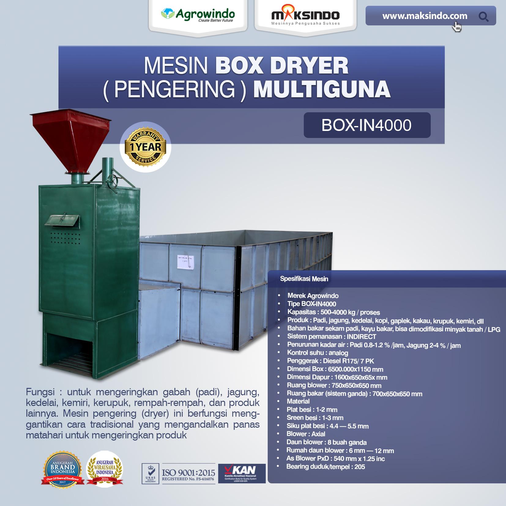 Jual Mesin Box Dryer di Palembang