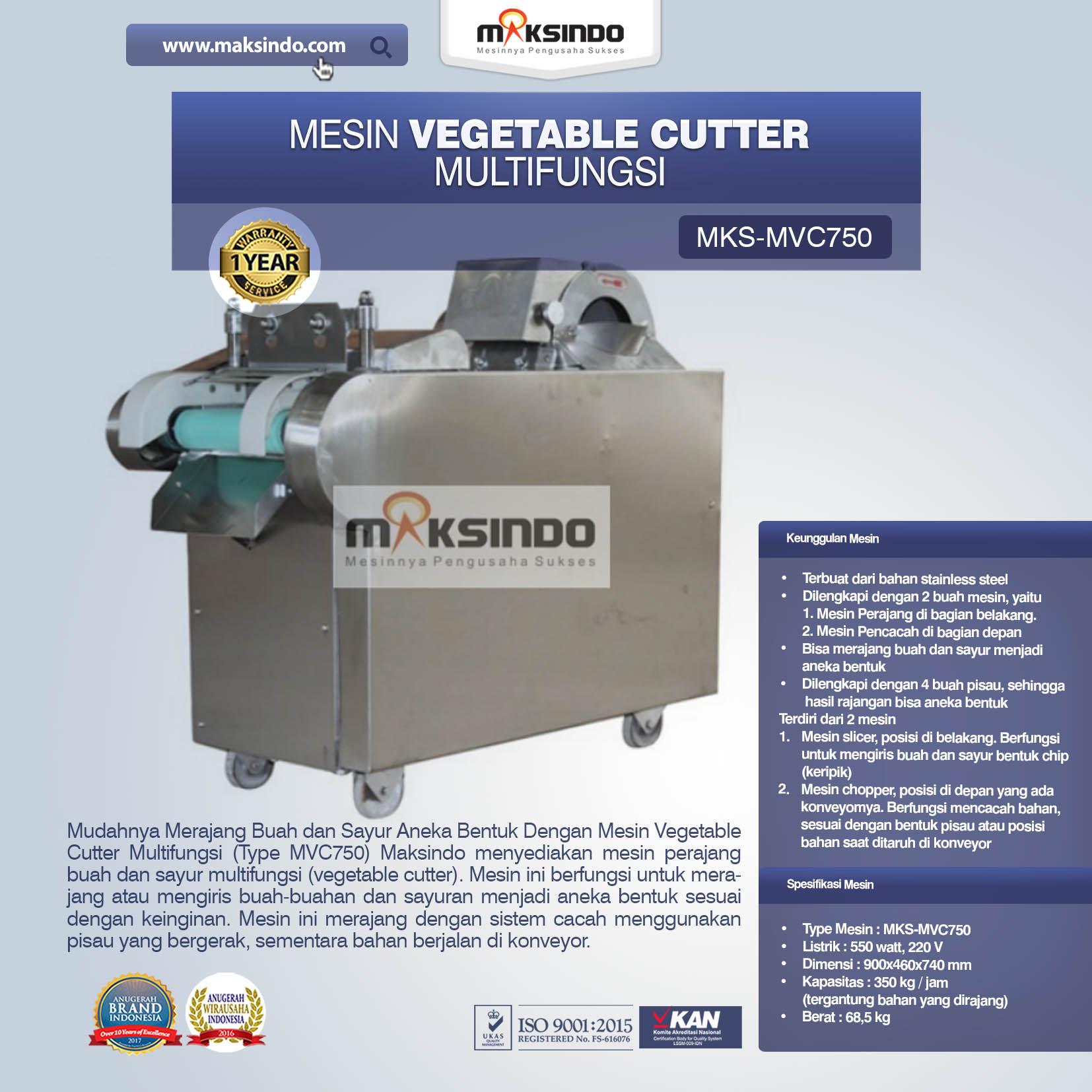 Jual Mesin Vegetable Cutter Multifungsi (Type MVC750) di Palembang