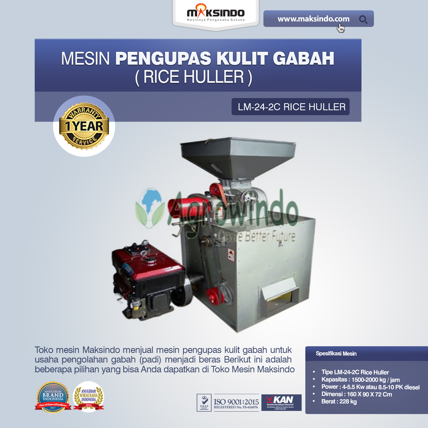 Jual Mesin Pengupas Kulit Gabah (rice huller) di Palembang