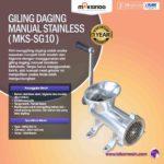 Jual Giling Daging Manual Stainless MKS-SG10 di Palembang