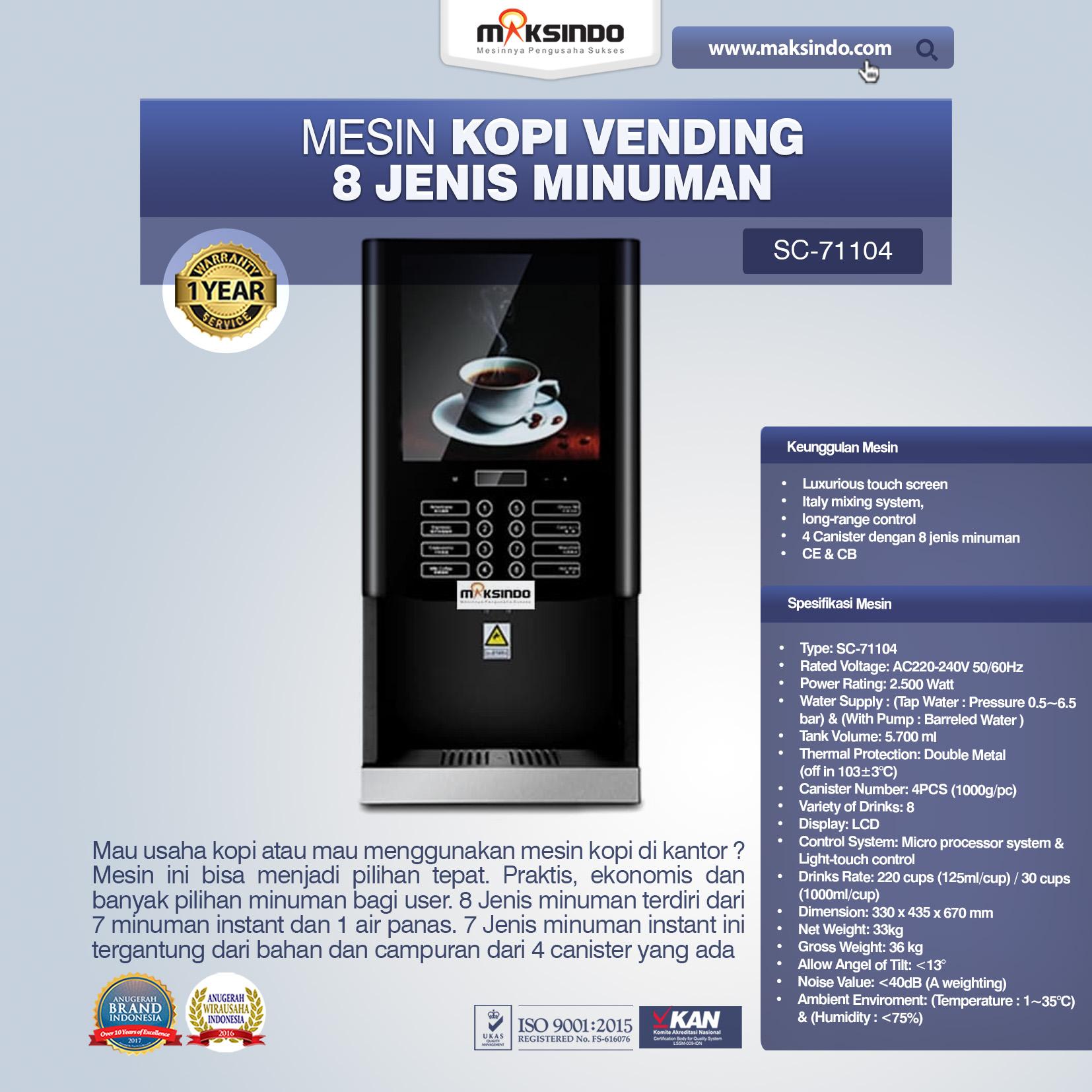 Jual Mesin Kopi Vending 8 Jenis Minuman di Palembang
