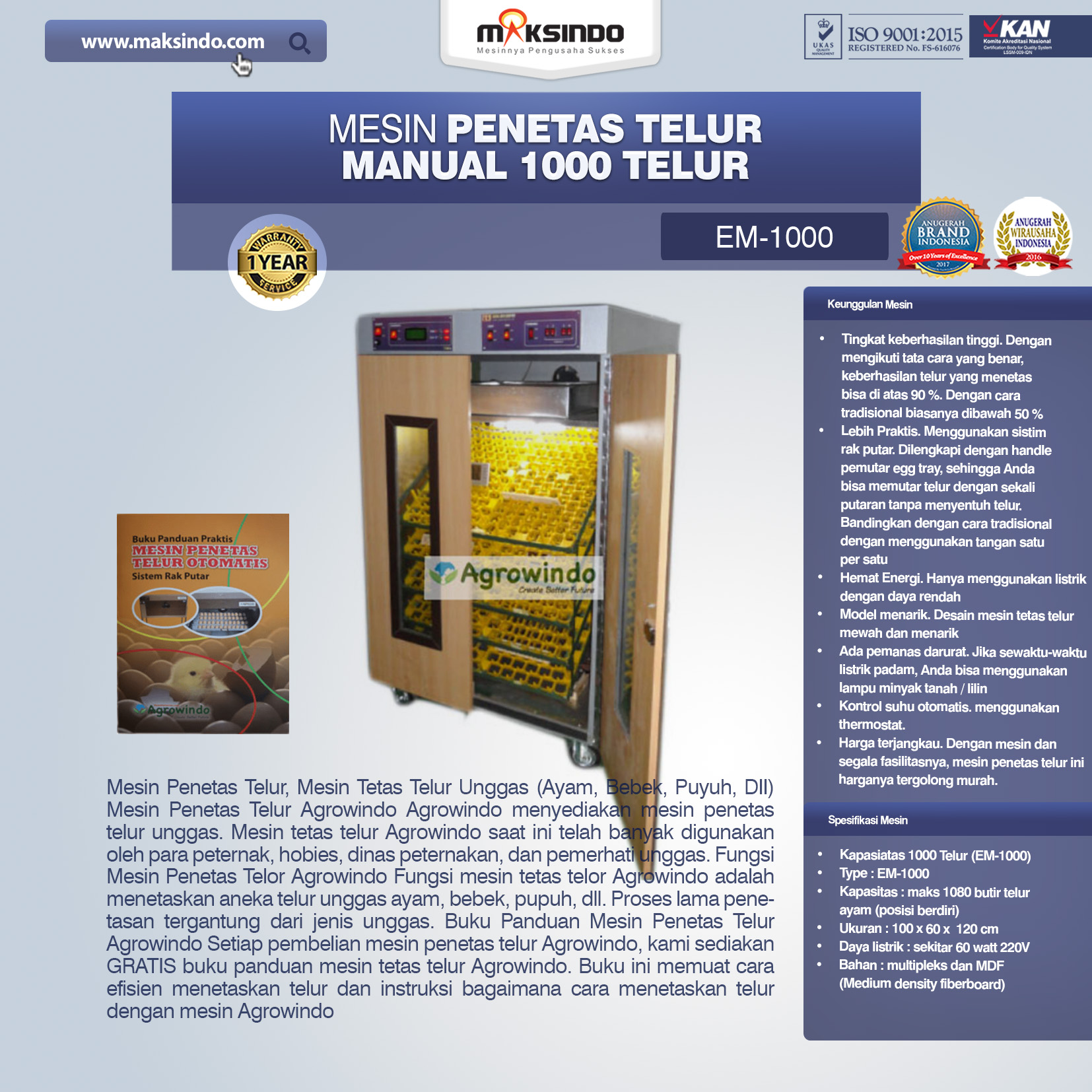 Jual Mesin Penetas Telur Manual 1000 Telur (EM-1000) di Palembang
