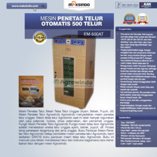 Jual Mesin Penetas Telur Otomatis 500 Telur (EM-500AT) di Palembang