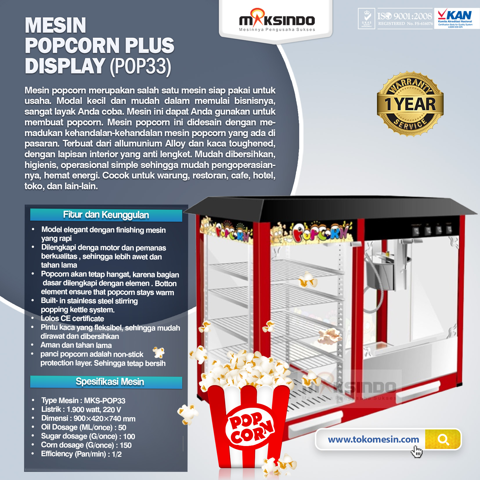 Jual Mesin Popcorn Plus Display (POP33) di Palembang