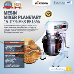Jual Mixer Planetary 15 Liter New High Quality (MKS-BK15M) di Palembang