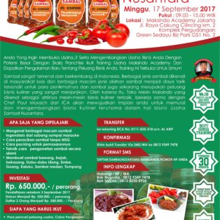 Training Usaha Sambal Nusantara, 17 September 2017