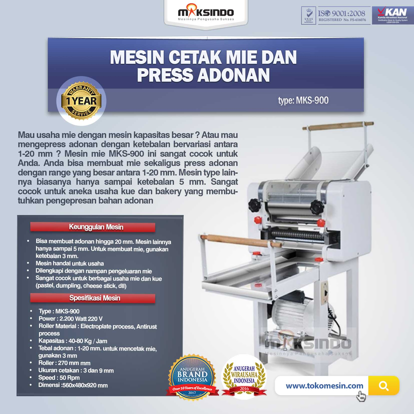 Jual Mesin Cetak Mie dan Press Adonan MKS-900 di Palembang