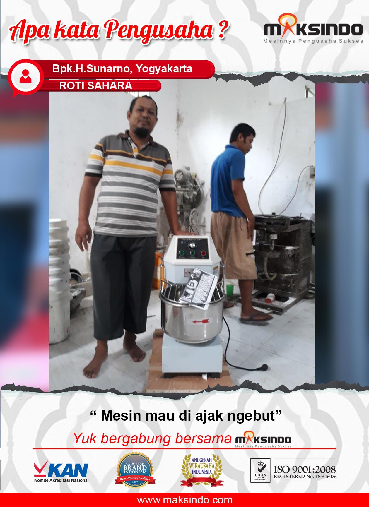 Roti Sahara : Mesin Mixer Spiral Maksindo Bisa Diajak Ngebut