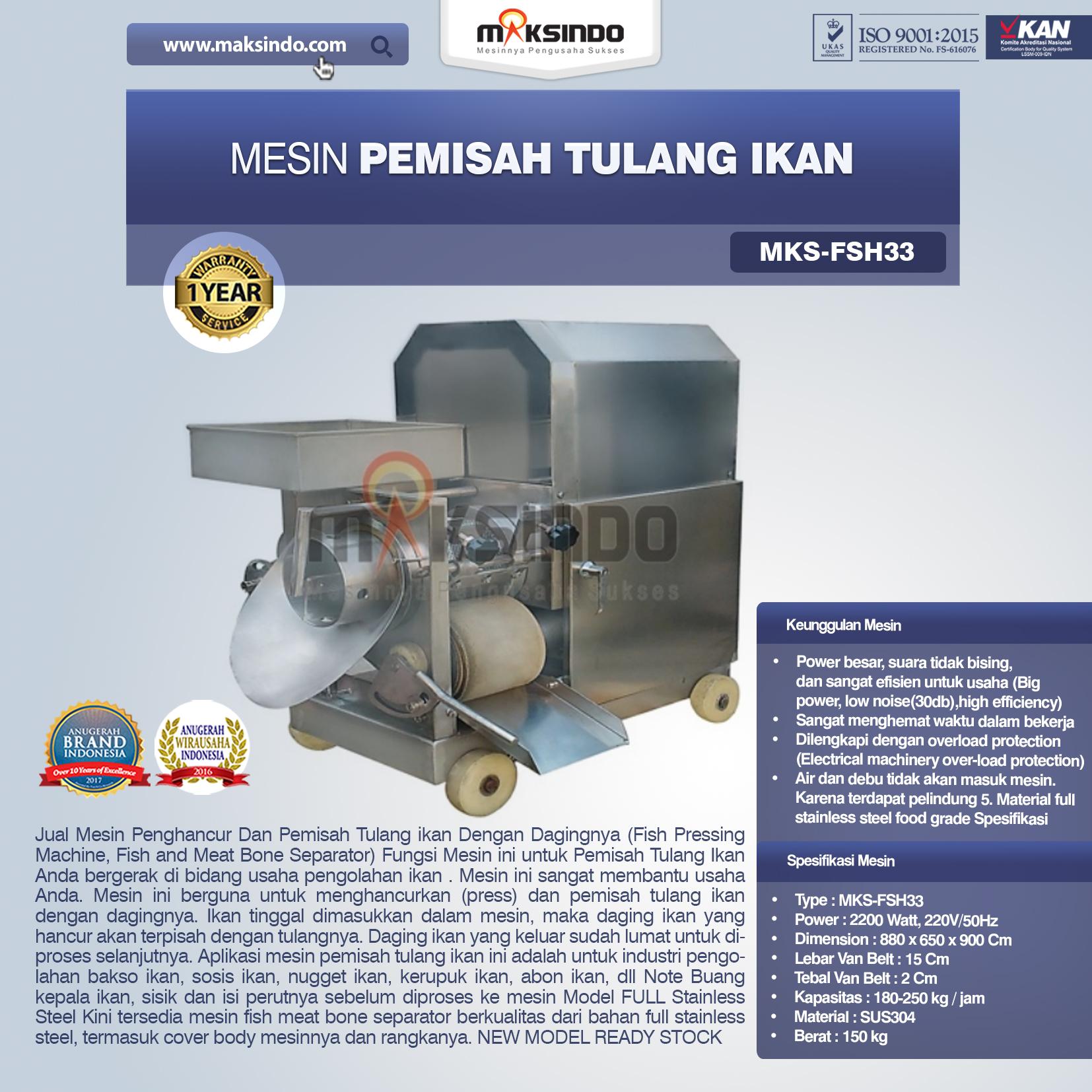 Jual Mesin Pemisah Tulang Ikan FSH33 di Palembang