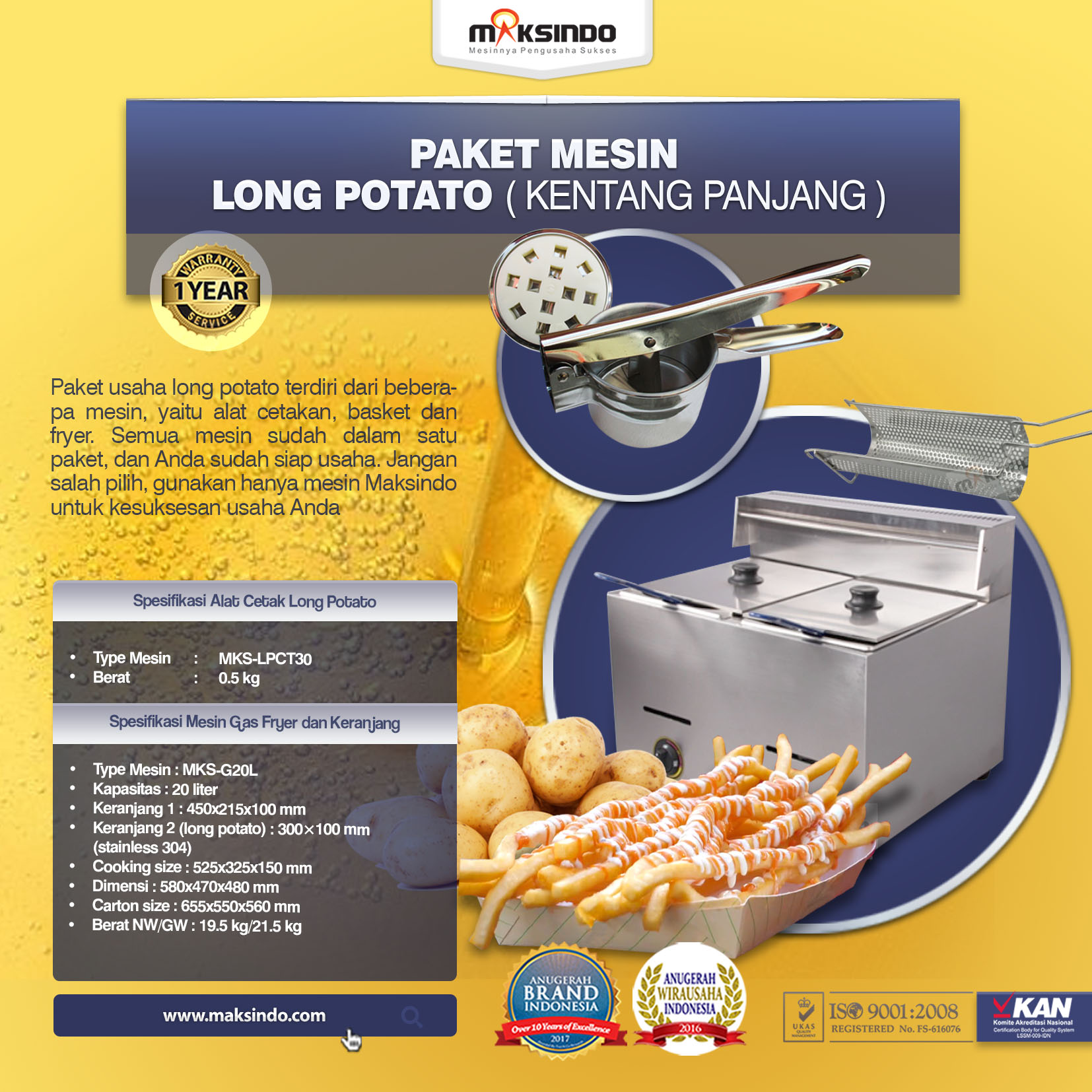Jual Paket Mesin Long Potato Kentang Panjang di Palembang