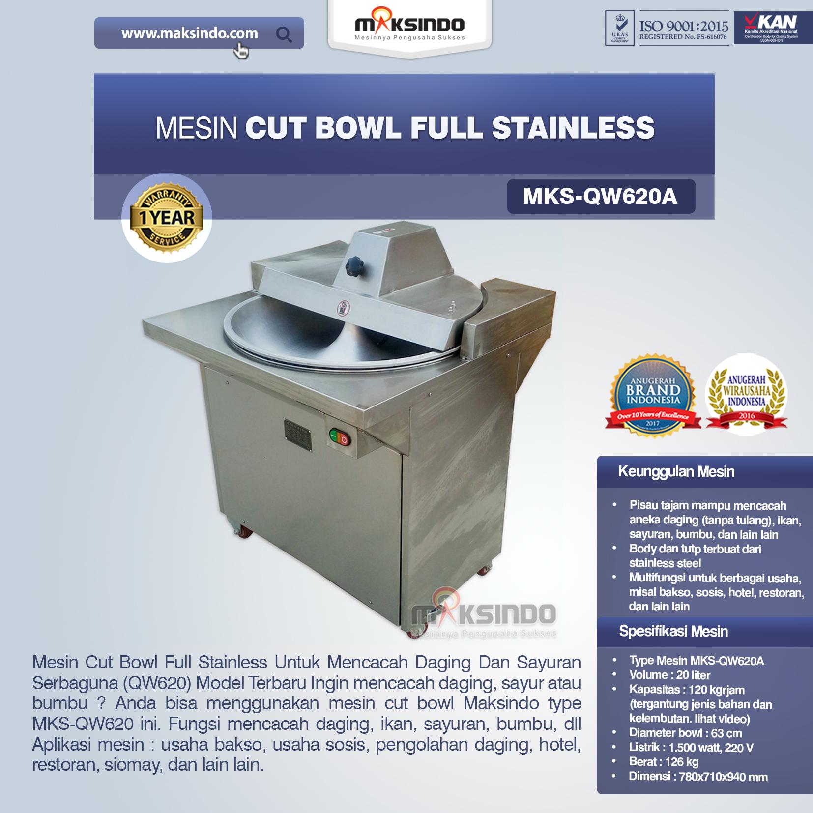 Jual Mesin Cut Bowl Full Stainless (QW620A) di Palembang