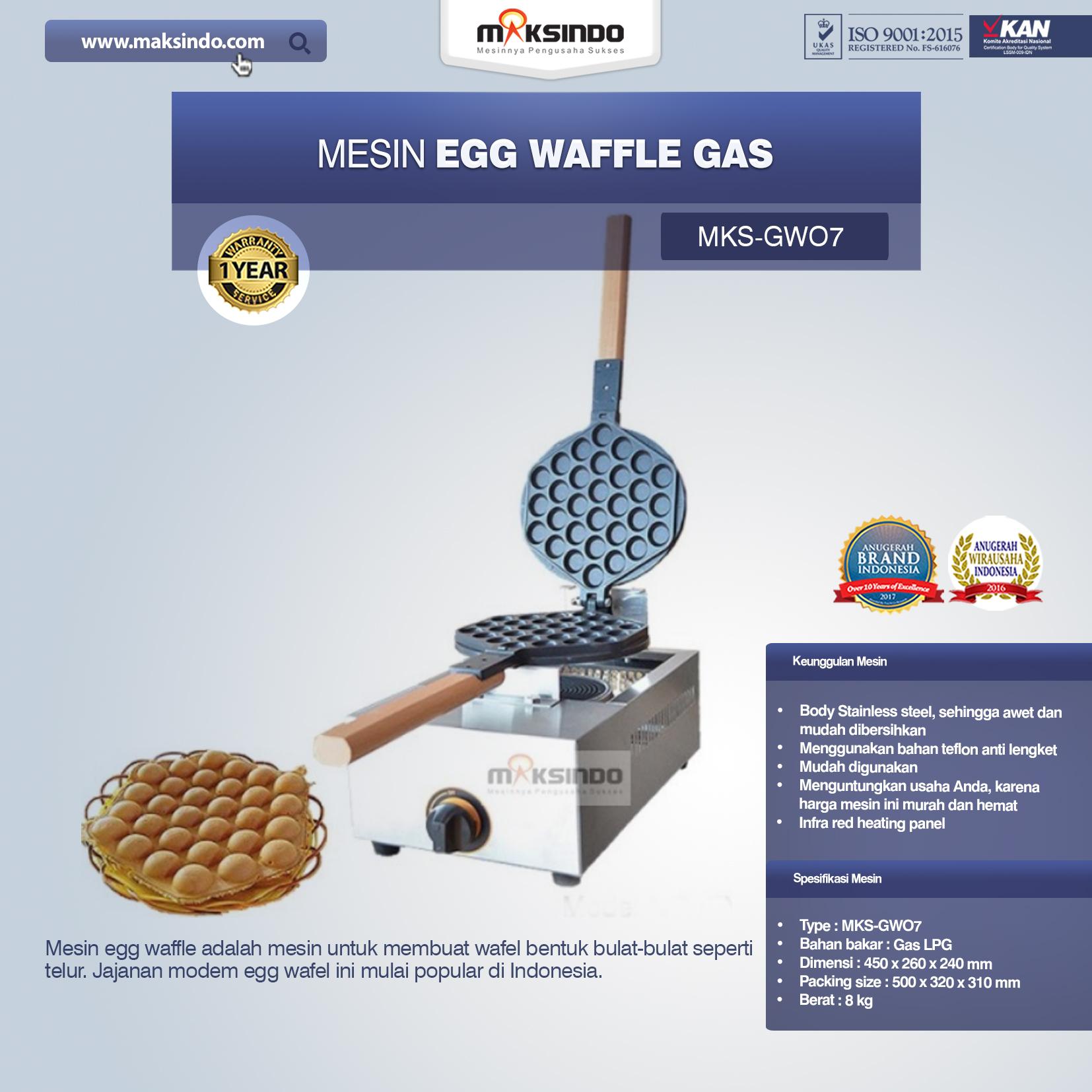 Jual Mesin Egg Waffle Gas (GW07) di Palembang