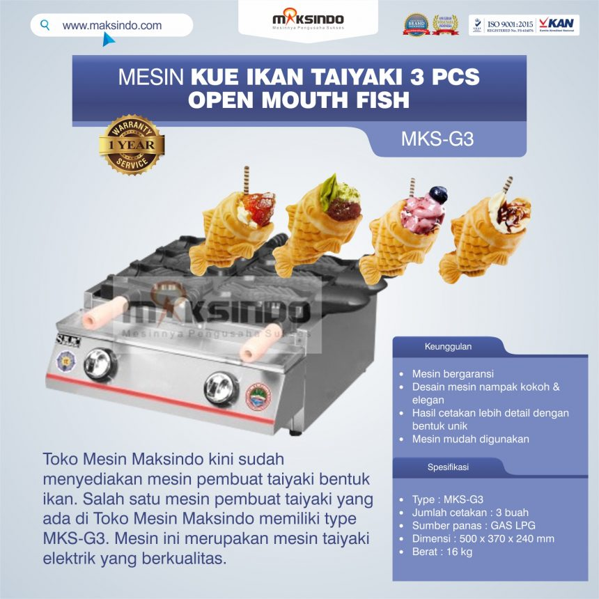 Jual Mesin Kue Ikan Taiyaki (3 pcs) – Open Mouth Fish di Palembang
