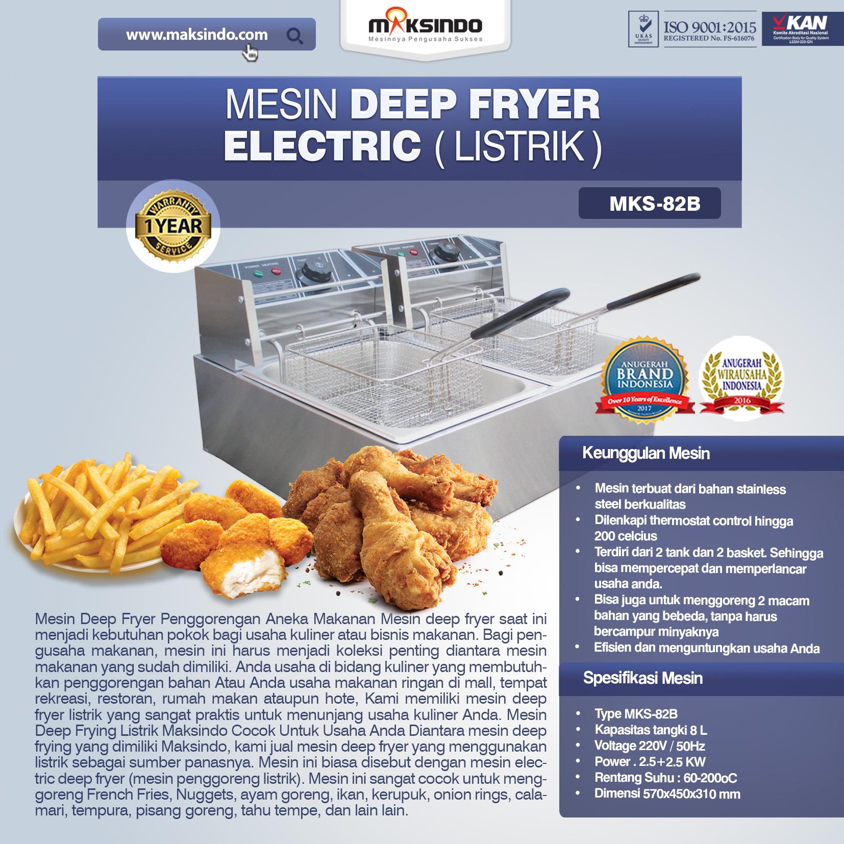Jual Electric Fryer Listrik MKS-82B di Palembang