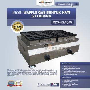 Jual Mesin Gas Waffle Bentuk Hati 50 Lubang MKS-HSW50G di Palembang