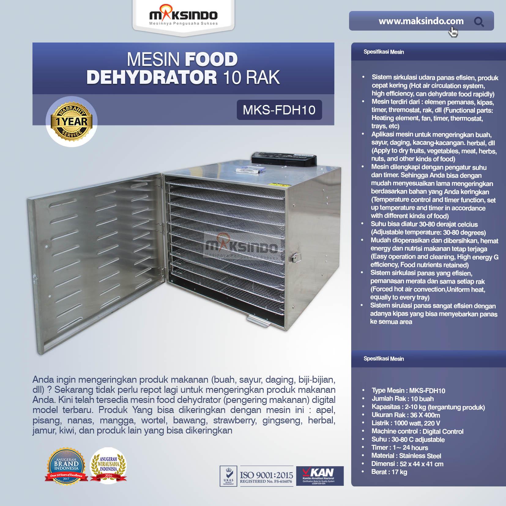 Jual Mesin Food Dehydrator 10 Rak (FDH10) di Palembang