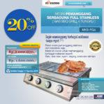 Jual Pemanggang Serbaguna Full Stainlees  – Gas BBQ Grill 4 Tungku di Palembang