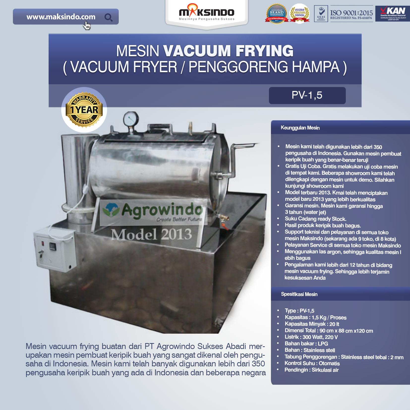 Jual Mesin Vacuum Frying Kapasitas 1.5 kg di Palembang