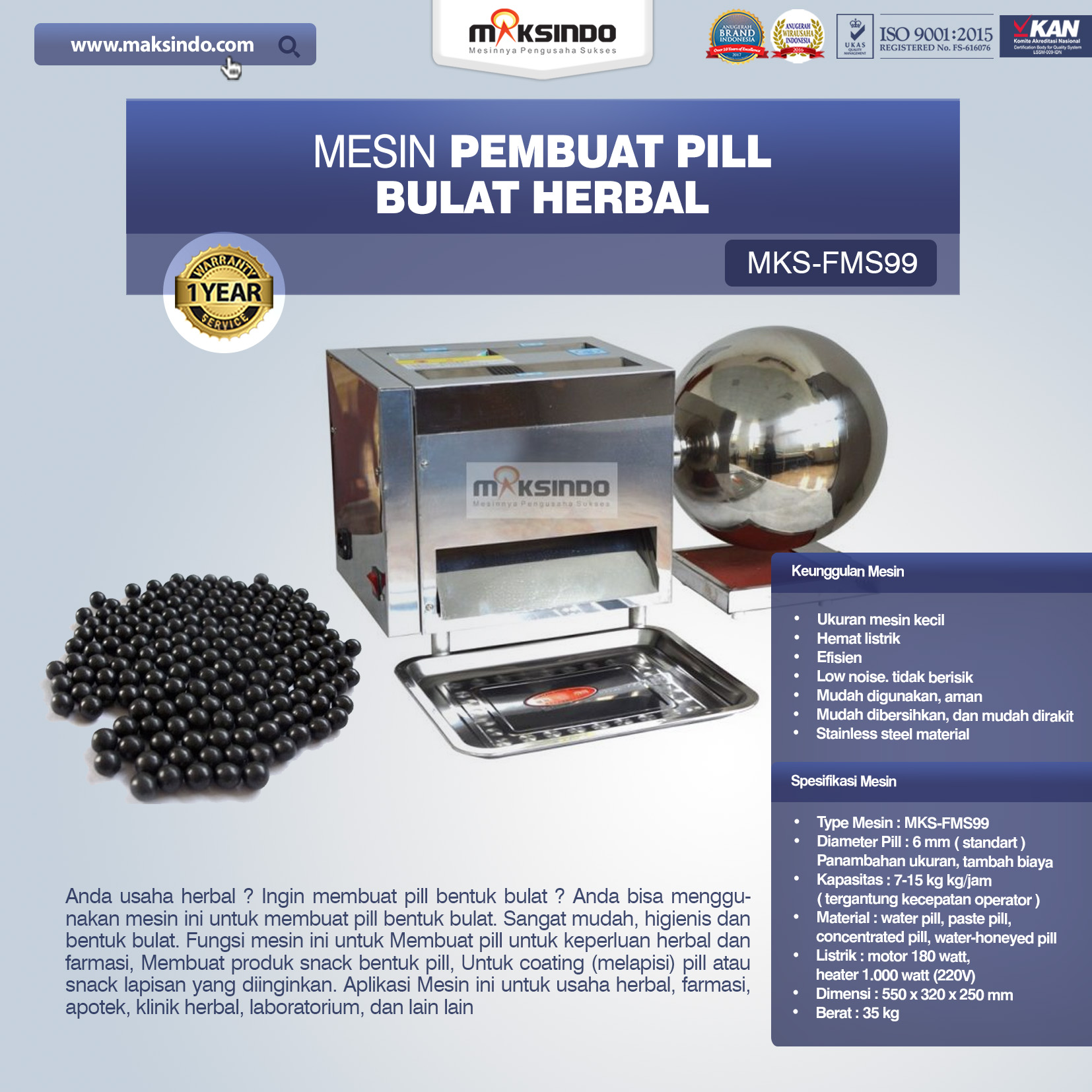 Jual Mesin Pembuat Pill Bulat Herbal (FMS99) di Palembang