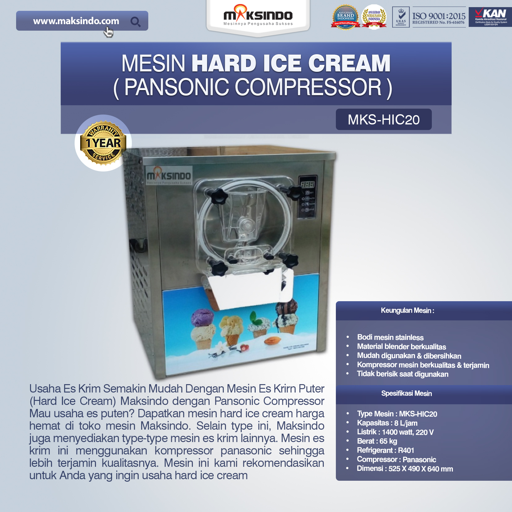 Jual Mesin Hard Ice Cream (HIC20) di Palembang