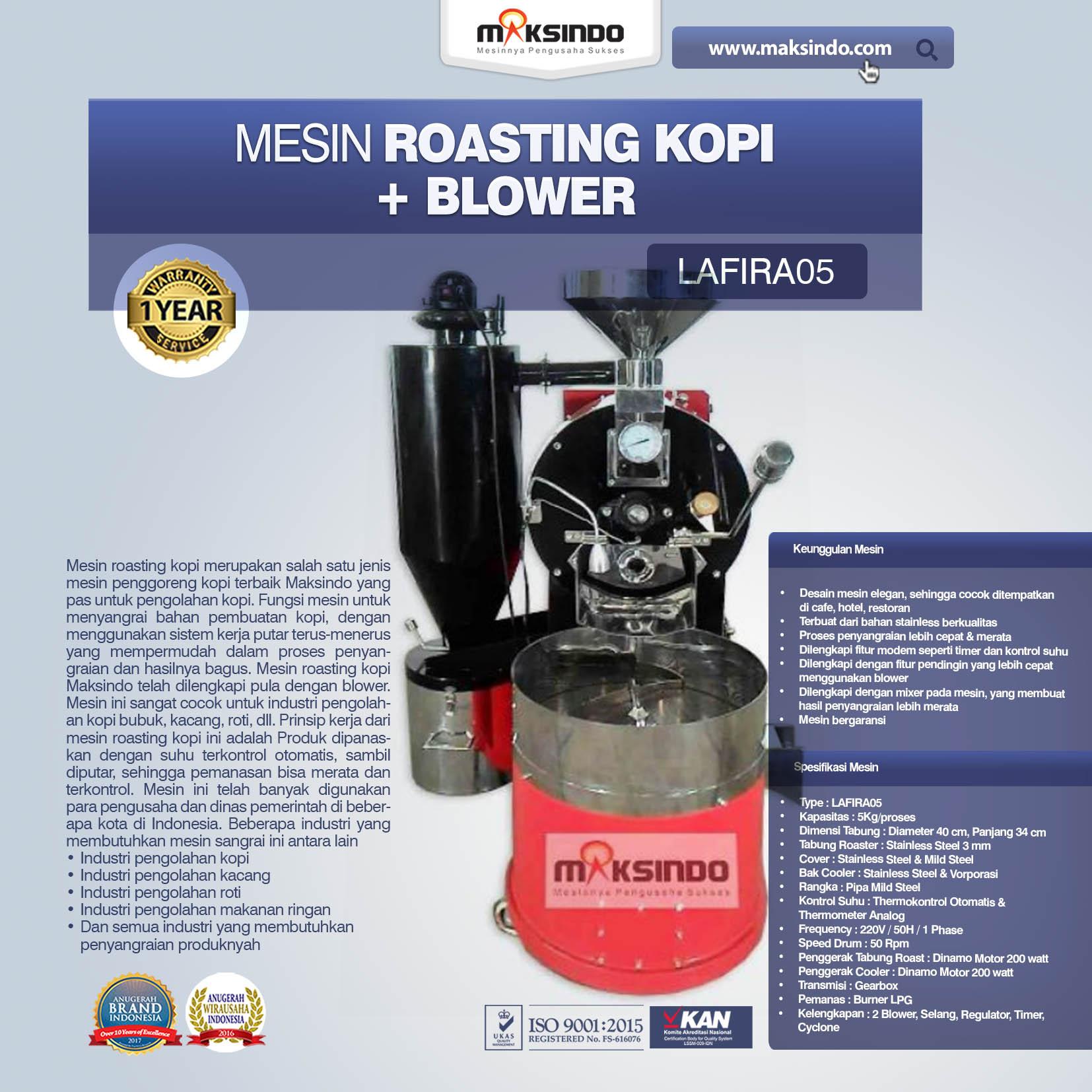 Jual Mesin Roasting Kopi + Blower LAFIRA05 di Palembang