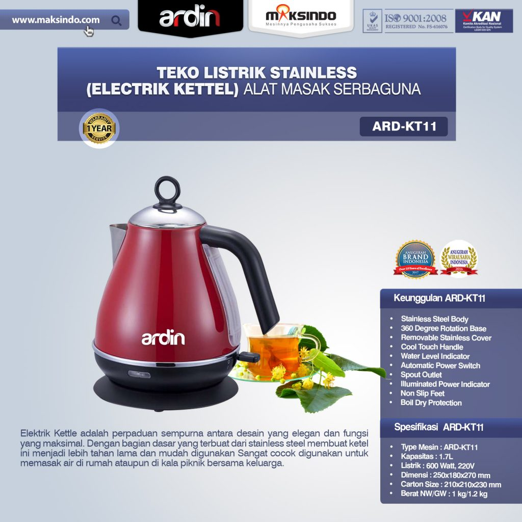 Jual Teko Listrik Stainless (Electrik Kettel) ARD-KT11 di Palembang