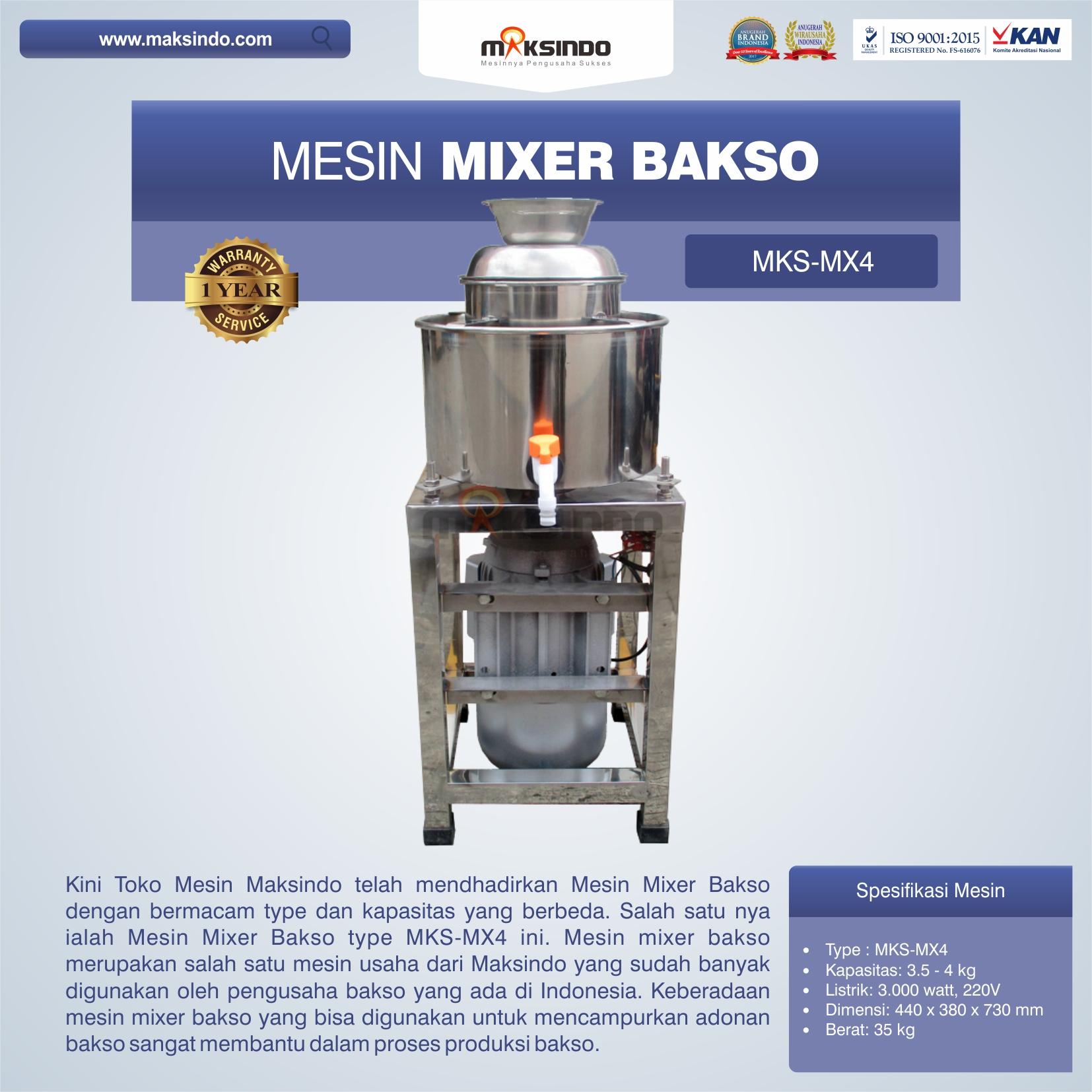 Jual Mesin Mixer Bakso MKS-MX4 di Palembang