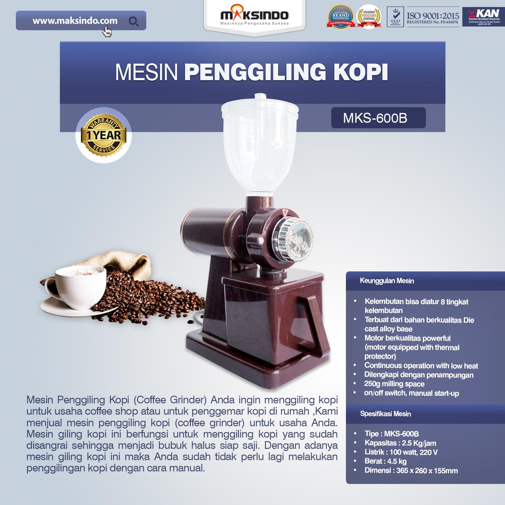 Jual Mesin Penggiling Kopi (MKS-600B) di Palembang
