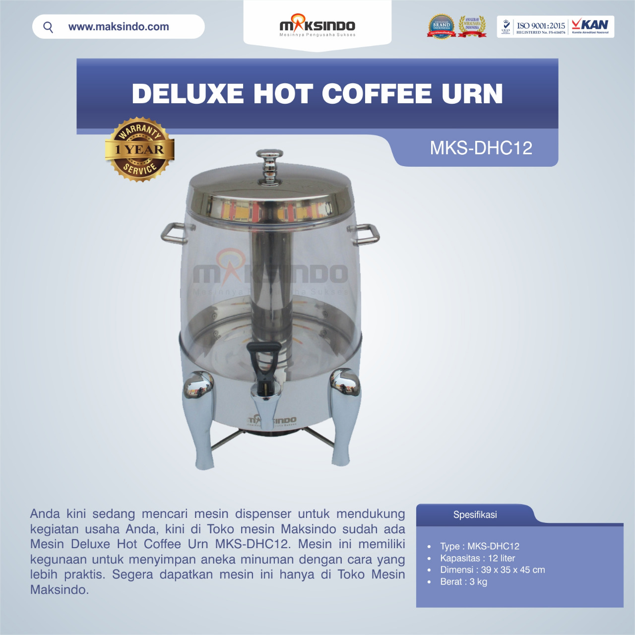 Jual Deluxe Hot Coffee Urn MKS-DHC12 di Palembang
