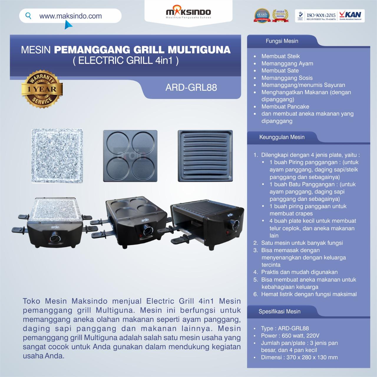 Jual Mesin Pemanggang Grill Multiguna (Electric Grill 4in1) ARD-GRL88 di Palembang