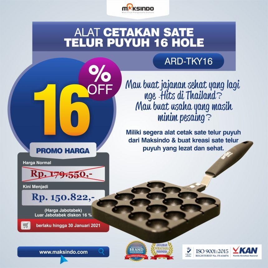 Jual Alat Cetakan Sate Telur Puyuh 16 Hole Ardin TKY16 di Palembang