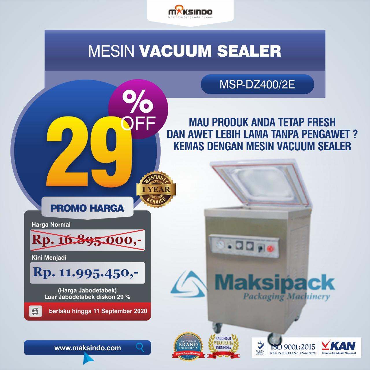 Jual Mesin Vacuum Sealer MSP-DZ400/2E di Palembang