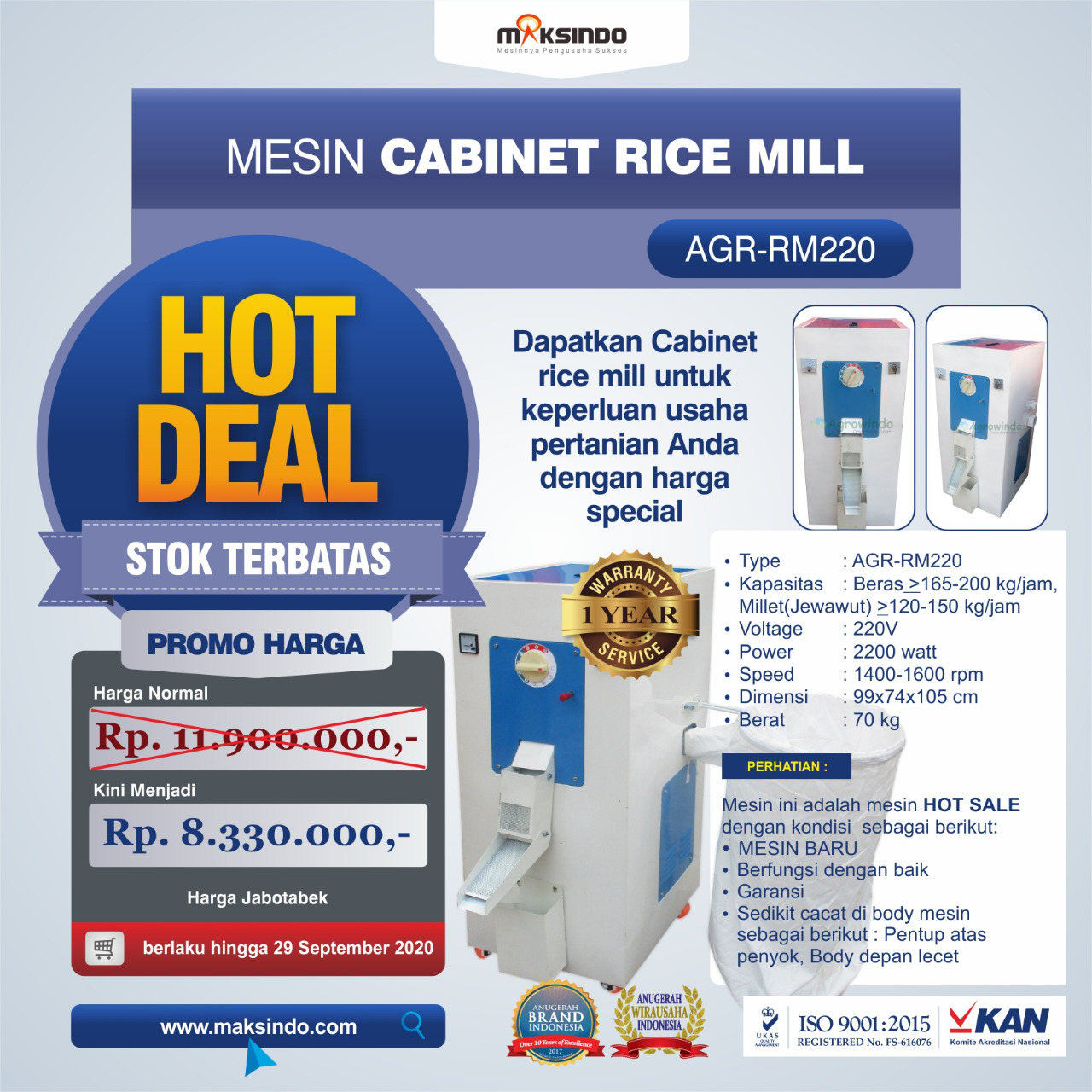 Jual Mesin Cabinet Rice Mill AGR-RM220 di Palembang