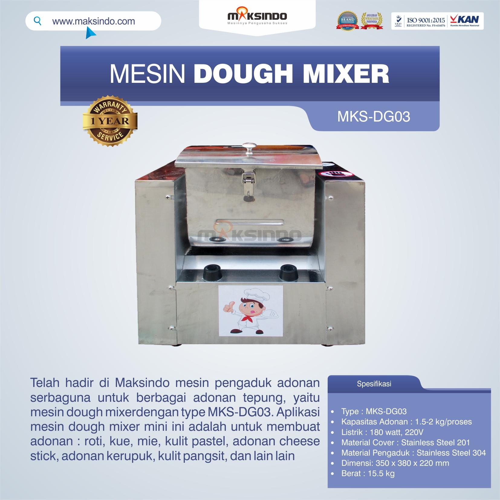 Jual Mesin Dough Mixer MKS-DG03 di Palembang