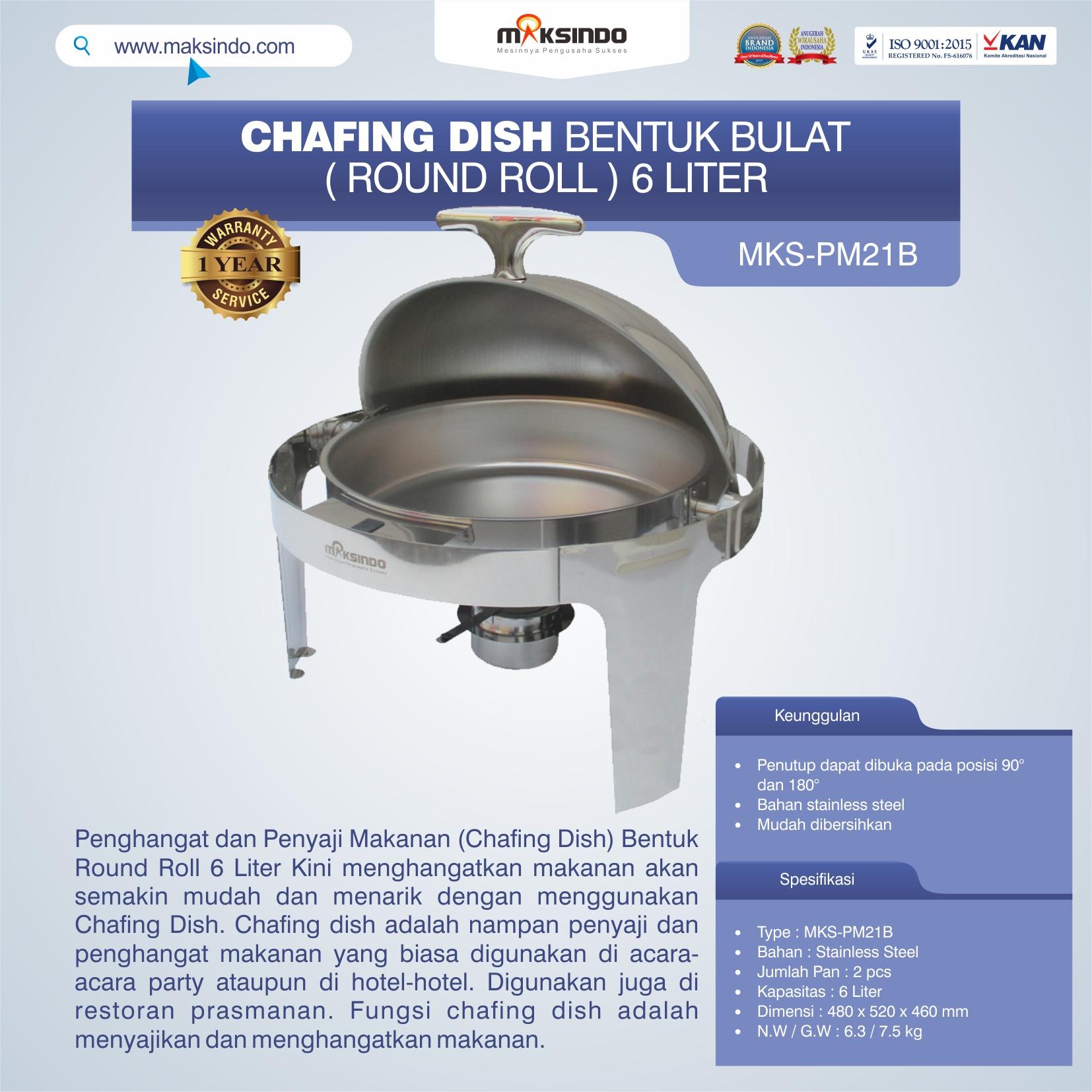 Jual Chafing Dish Bentuk Bulat (Round Roll) 6 Liter di Palembang