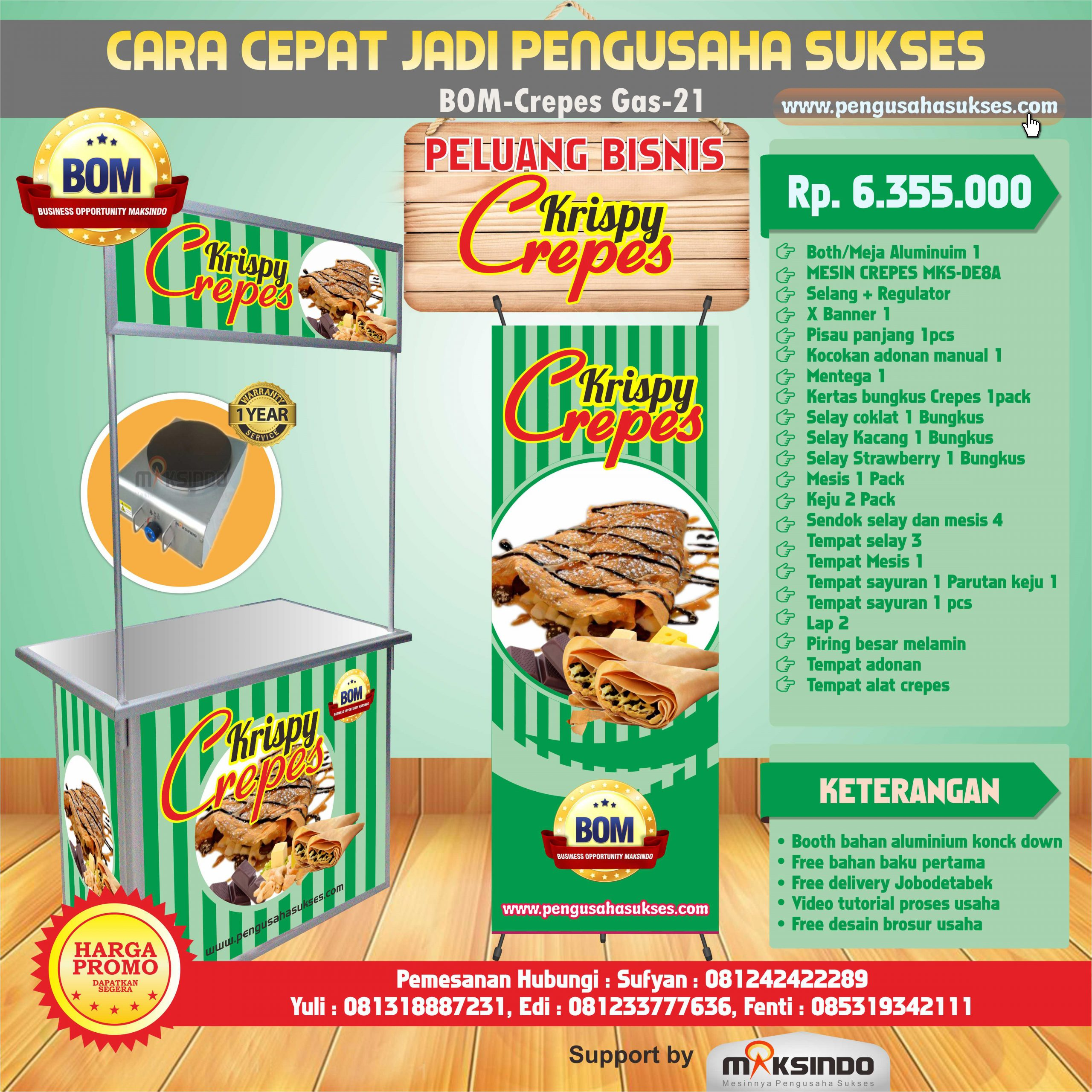 Paket Usaha Krispy Crepes (GAS) Program BOM