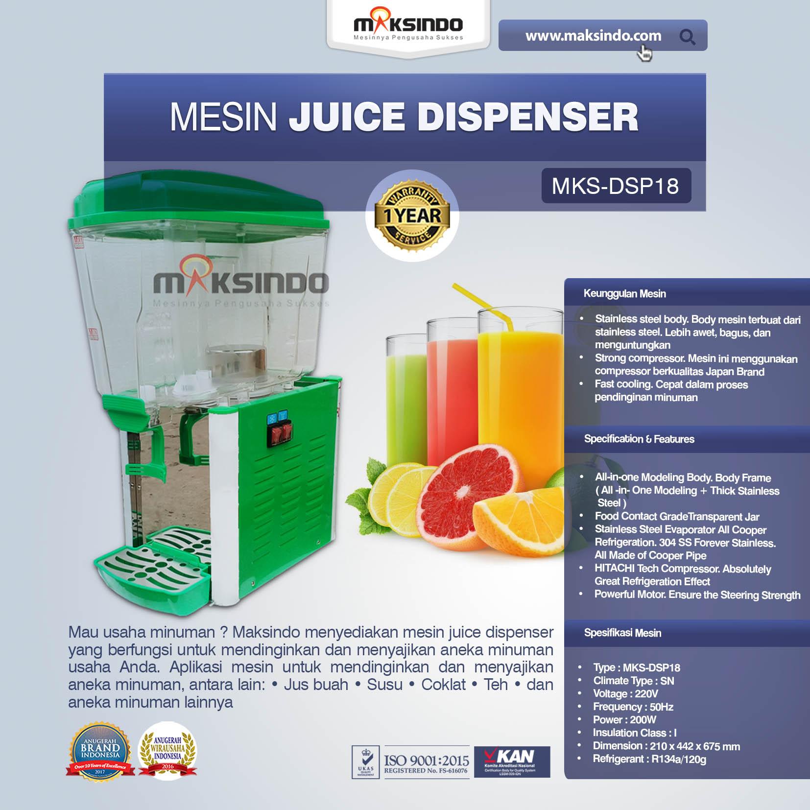 Jual Mesin Juice Dispenser MKS-DSP18 di Palembang
