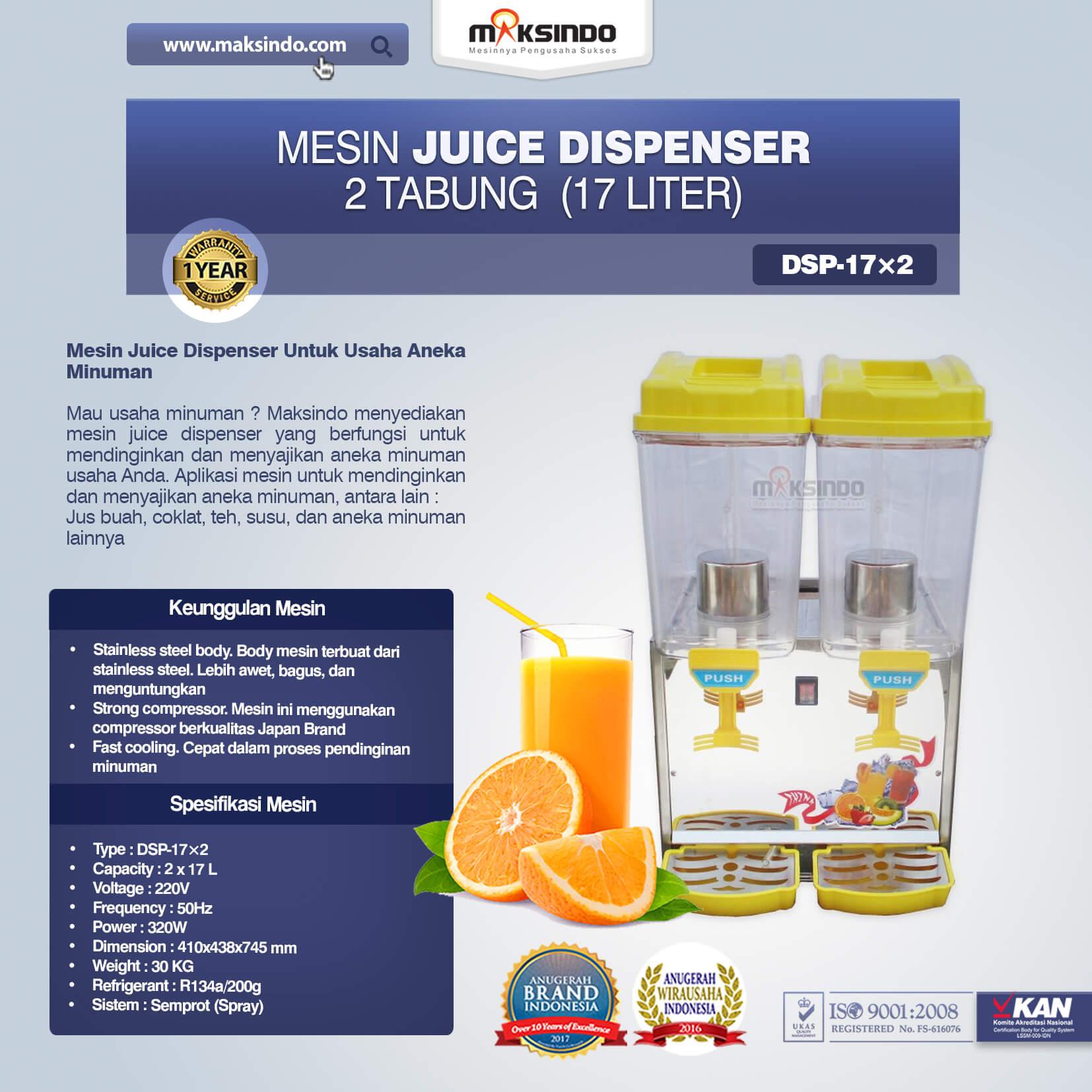 Jual Mesin Juice Dispenser 2 Tabung (17 Liter) – DSP17x2 di Palembang