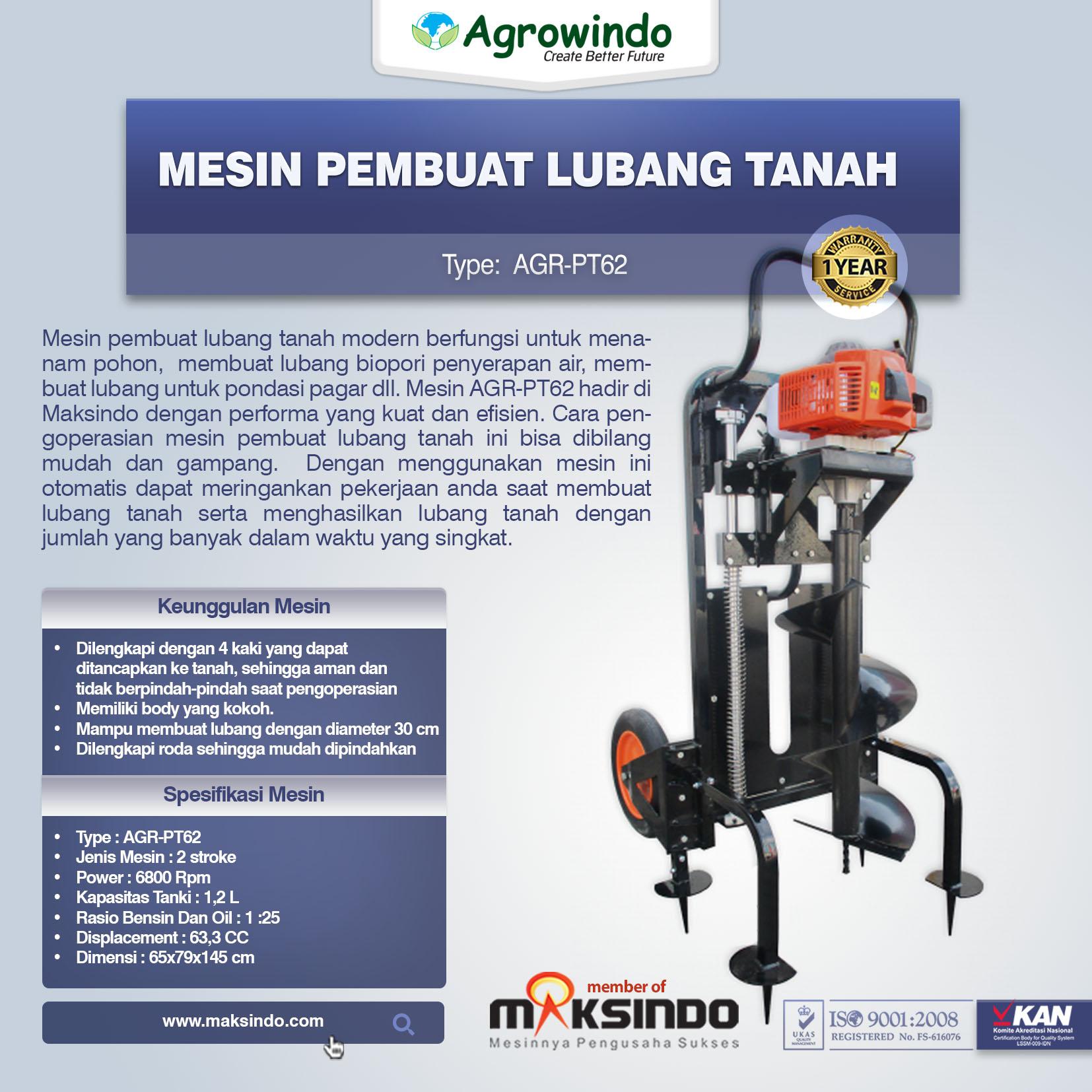 Jual Mesin Pembuat Lubang Tanah AGR-PT62 di Palembang