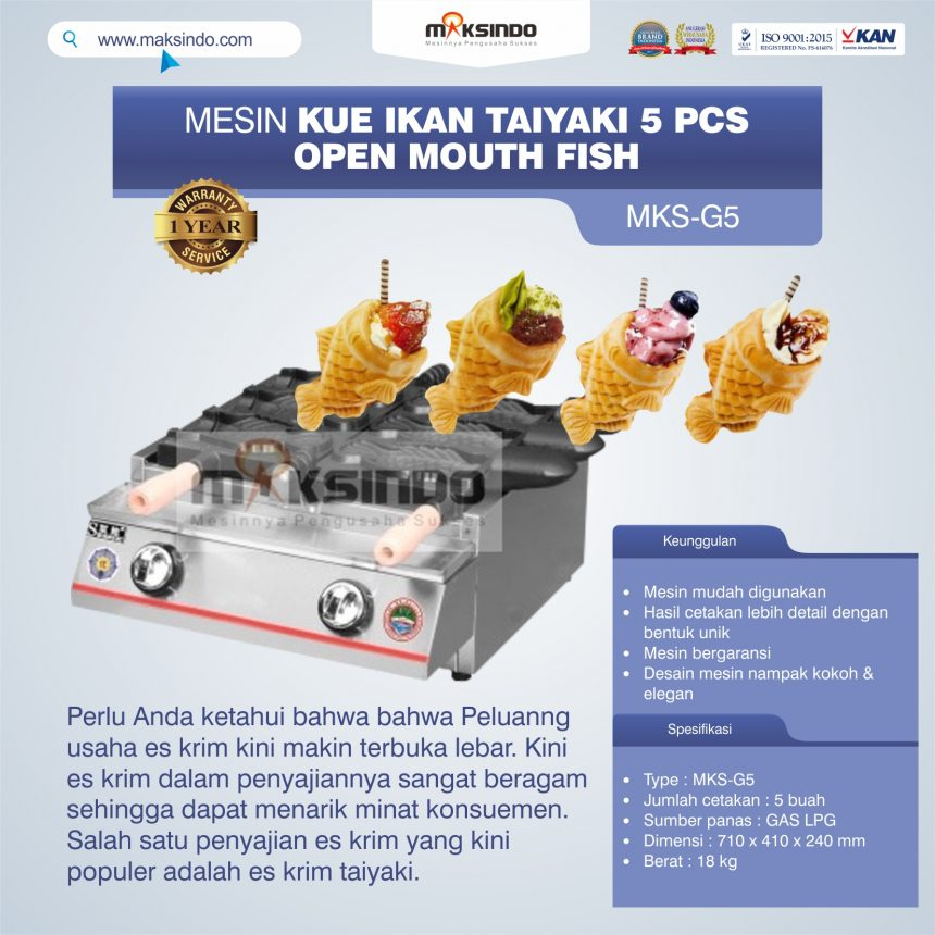 Jual Mesin Kue Ikan Taiyaki 5 Pcs – Open Mouth Fish MKS-G5 di Palembang