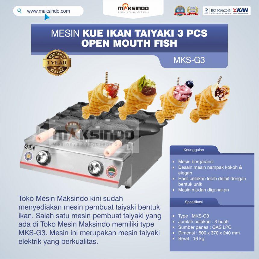 Jual Mesin Kue Ikan Taiyaki (3 pcs) – Open Mouth Fish di Palembang