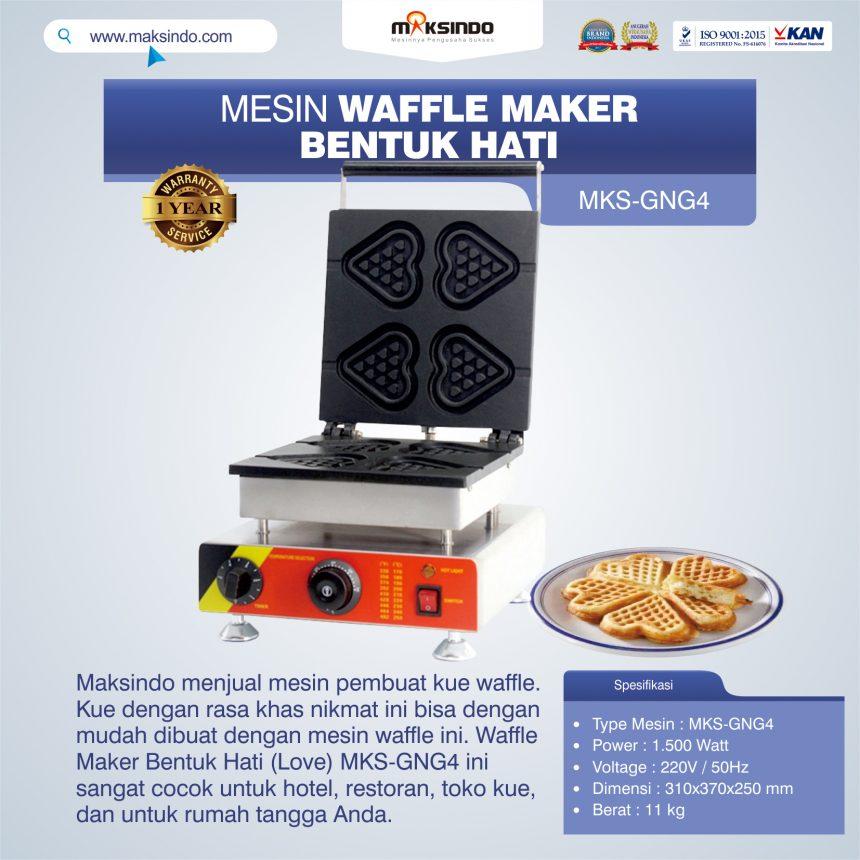 Jual Mesin Waffle Maker Bentuk Hati (Love) MKS-GNG4 di Palembang