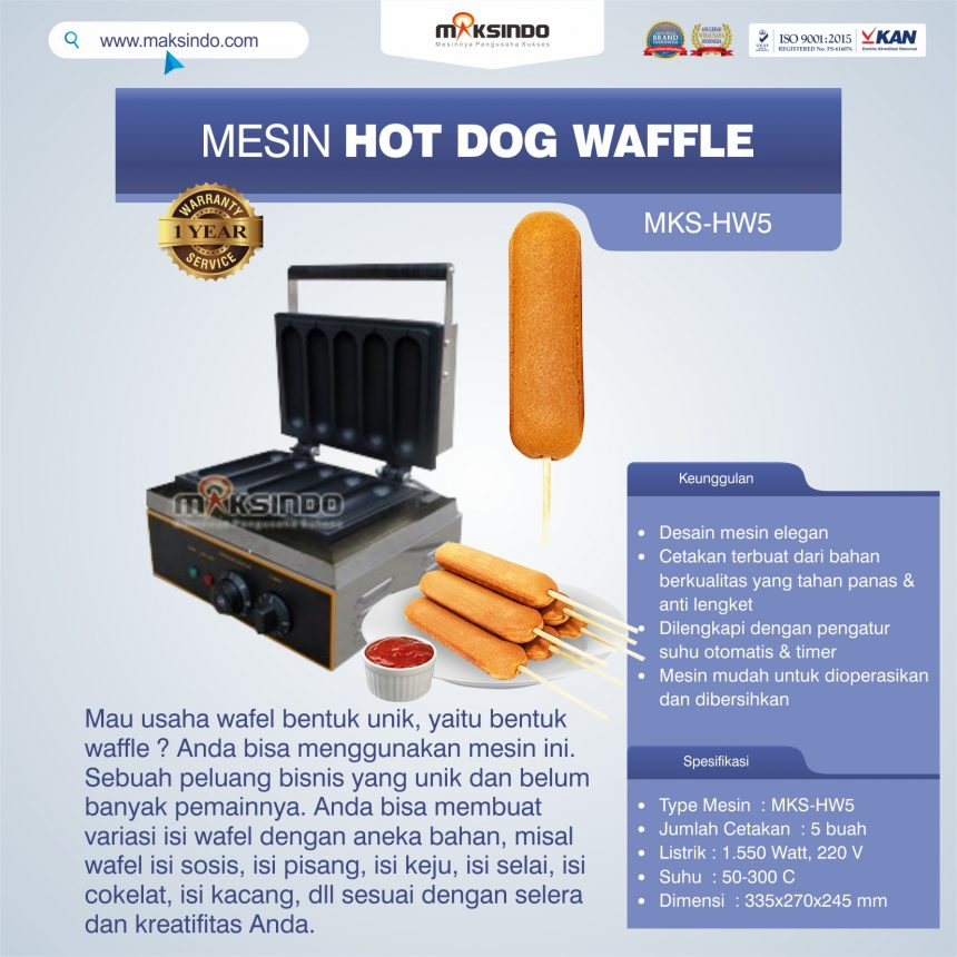 Jual Mesin Hot Dog Waffle MKS-HW5 Di Palembang
