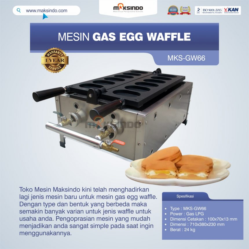 Jual Mesin Gas Egg Waffle MKS-GW66 di Palembang