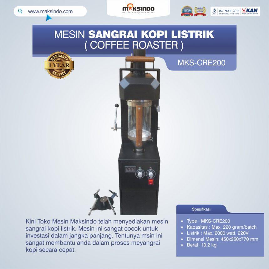 Jual Mesin Sangrai Kopi Listrik (Coffee Roaster) MKS-CRE200 di Palembang