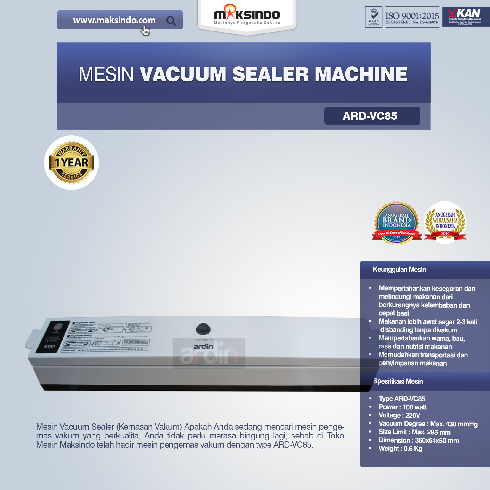 Jual Mesin Vacuum Sealer Machine ARD-VC85 Di Palembang