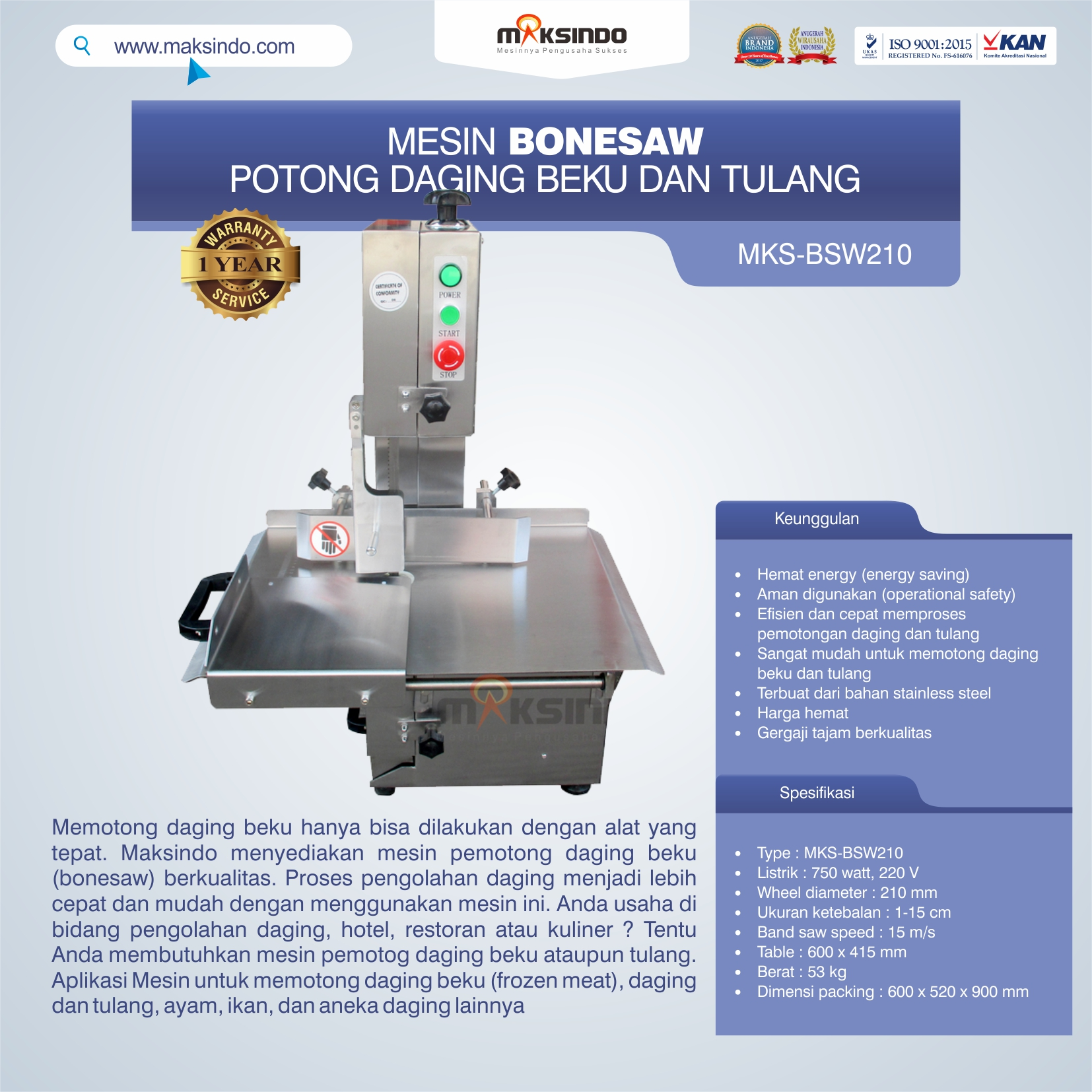 Jual Bonesaw Pemotong Daging Beku (MKS-BSW210)di Palembang