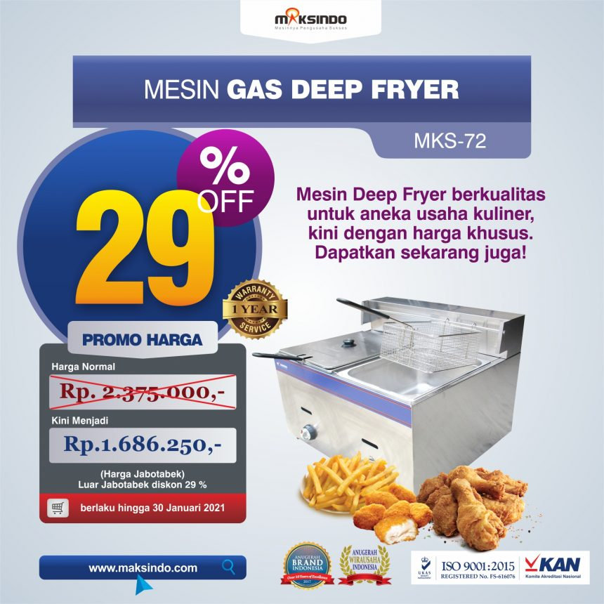 Jual Mesin Gas Deep Fryer MKS-72 di Palembang