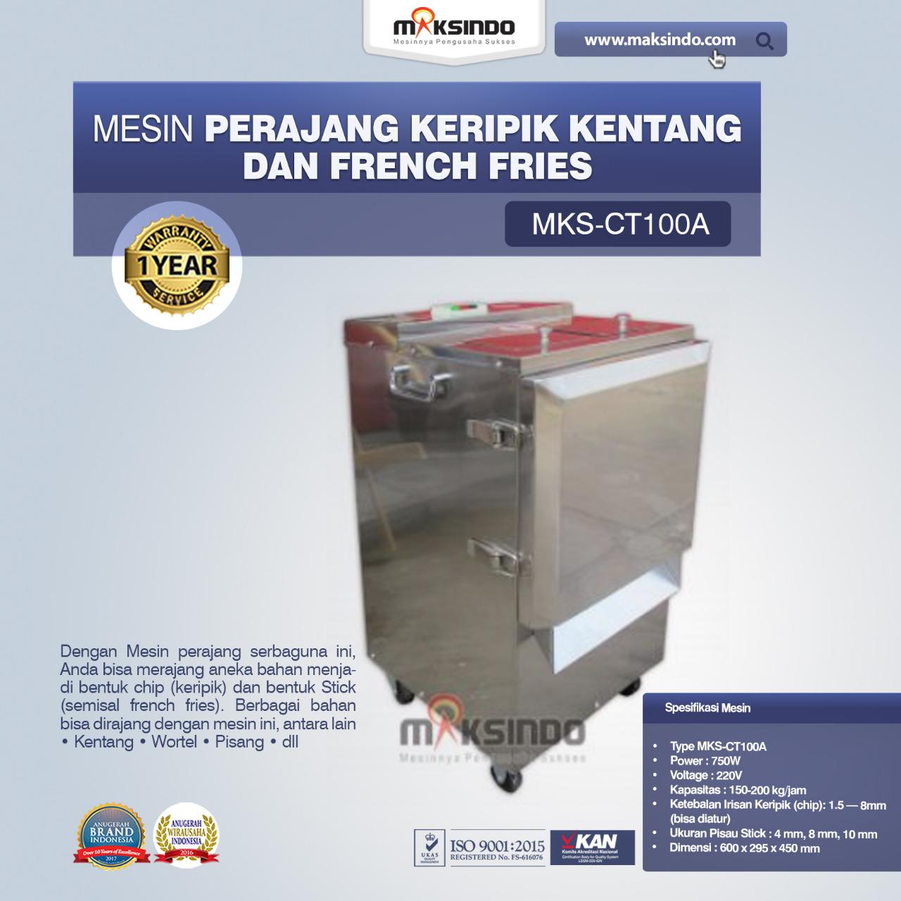 Jual Mesin Perajang Keripik Kentang dan French Fries – MKS-CT100A di Palembang