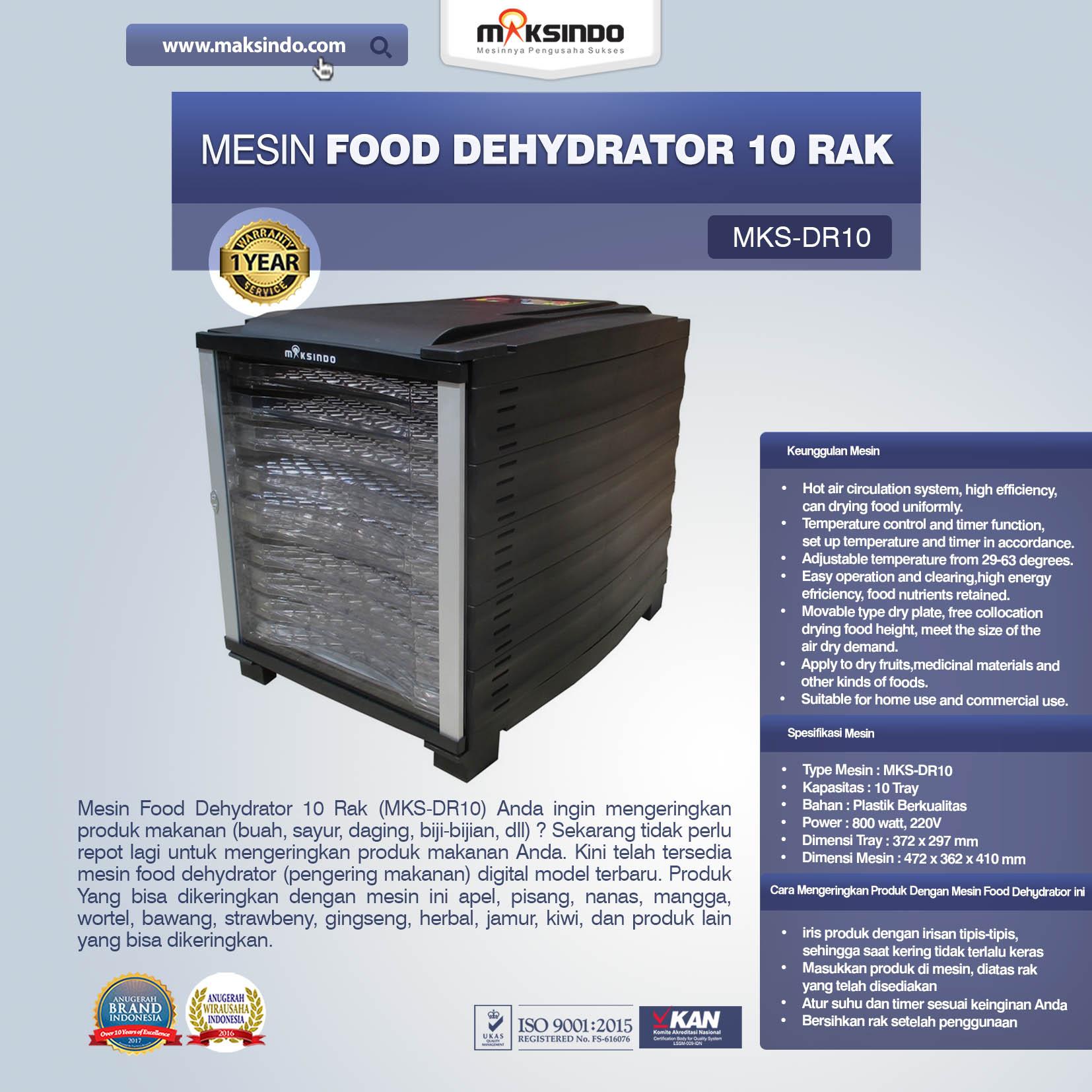 Jual Mesin Food Dehydrator 10 Rak (MKS-DR10) di Palembang
